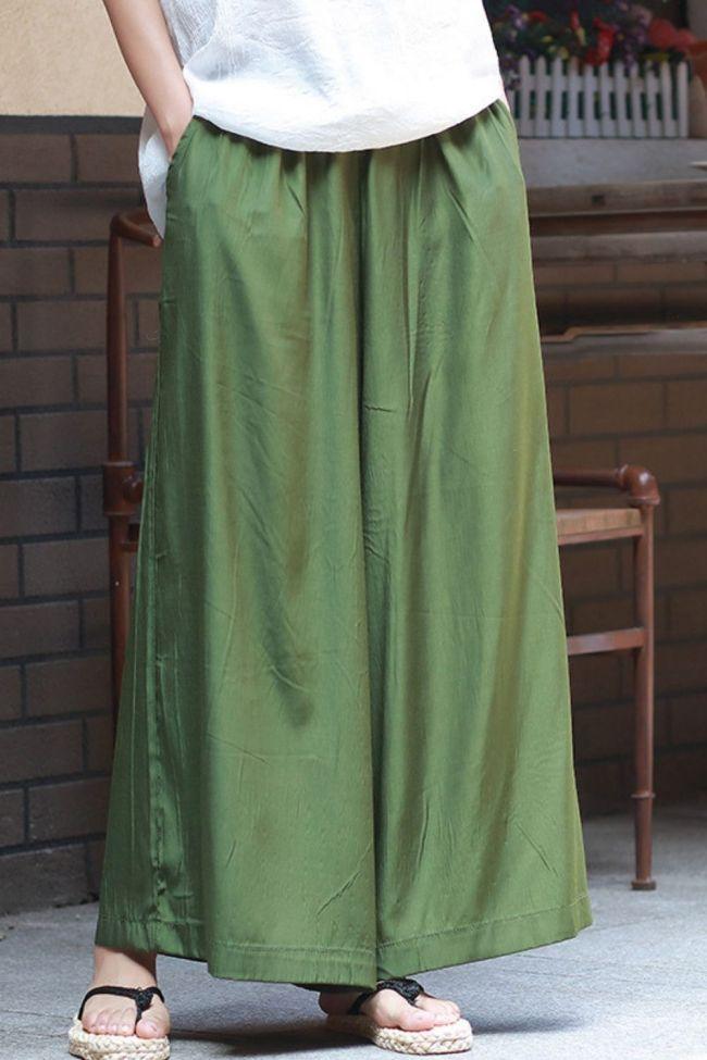 Summer Wide Leg Pants New Solid Color 2021 Women Loose Elastic Waist Pockets Casual 3 Colors Ankle-Length Pants