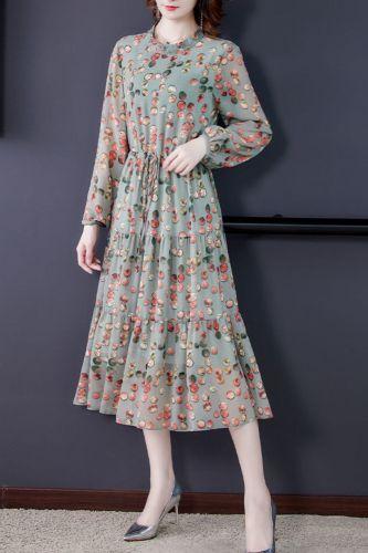 Women Floral Printing Chiffon Dress 2021 Spring Fashion Long Sleeve O Neck A Line Party Vestidos Elegant Women Midi Dresses