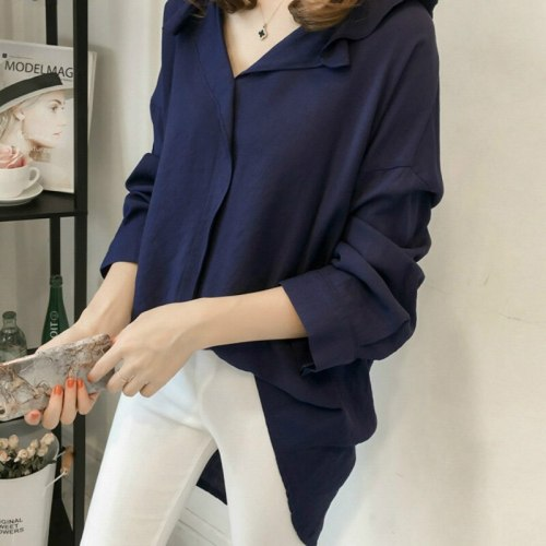 2021 Spring New Korean Version Loose Large Size Bat Sleeve Shirt Women'S Long-Sleeved Shirt Solid Color Wild Bottoming Shirt