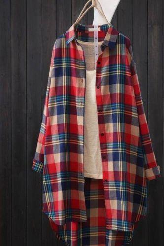 100% Cotton Plaid Shirt Long Sleeve 2021 Women Autumn Summer New Fashion Button Up Casua Loose Blouse Plus Size