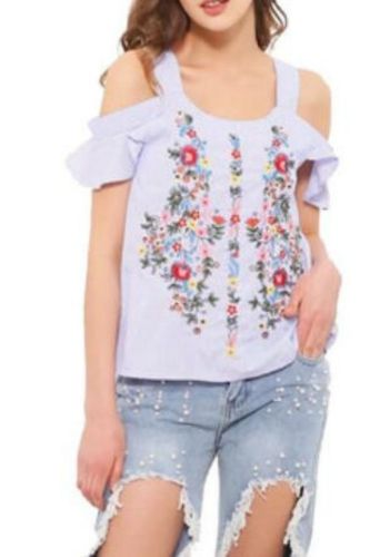 Off Shouder Floral Embroidery Striped Shirts Women'S Blouses Sweet Ruffles Short Sleeve Blouse Ladies Casual Brand Tops Blusas
