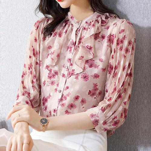 Women Half Sleeve Blouses Ruffle 2021 Loose Floral Printed Chiffon Blouse Women Shirt Ladies Feminine Blouse Office Wear