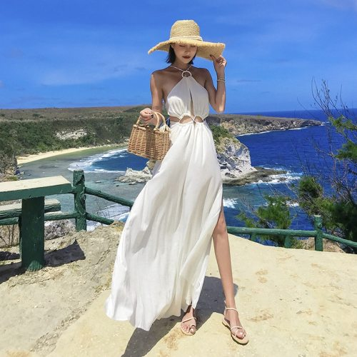 New beach skirt women's summer seaside holiday sexy white suspender backless Jumpsuit woman dress