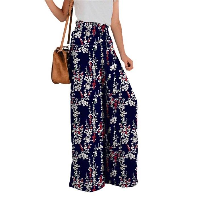 Women Floral Loose Pants High Waist Casual Leisure Daily Wide-Leg Loose Streetwear Summer