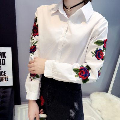 Floral Embroidery Blouse Casual Lantern Long Sleeve Women White Solid Tops Female New Fashion Elegant Shirt Plus Size