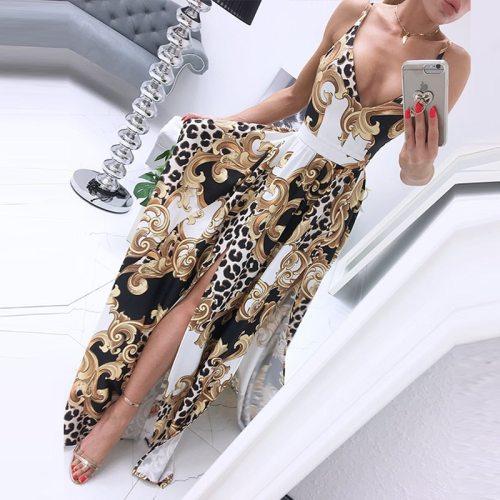 Casual Summer Vintage Print Sling Long Dress 2021 Lady Sexy V Neck Split Party Dress Fashion Women Sleeveless Maxi Beach Dresses