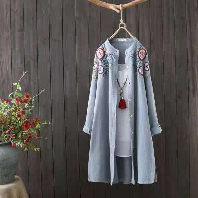 New Trend Pure Cotton Tunics Embroidery Literary Blouse Bluzki Long Sleeve Loose Tops Summer Women Oversize Shirt Elegant 2021