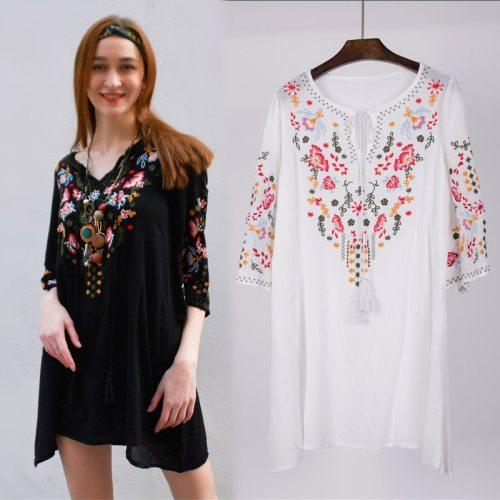 Hot Sale Retro Ethnic New Summer Vintage Elegant Floral Embroidered O-Neck Batwing Loose Causel Vintage Boho Dress