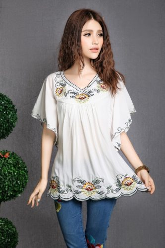 2021 Hot Sale vintage 70s mexican Ethnic Floral EMBROIDERED BOHO Hippie blouses / shirt Women Clothing Tops Tunic Free Shipping