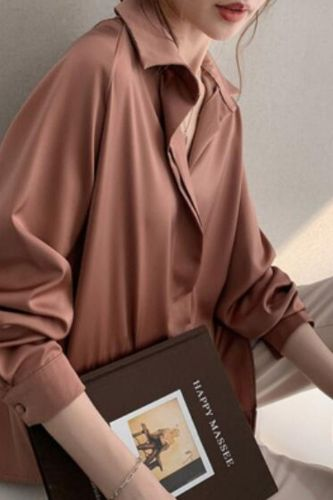Women's Blouses Top Korean Shirt New Long-sleeved Blouse Solid Color Buttons Temperament Comfortable Casual Fashion Tops