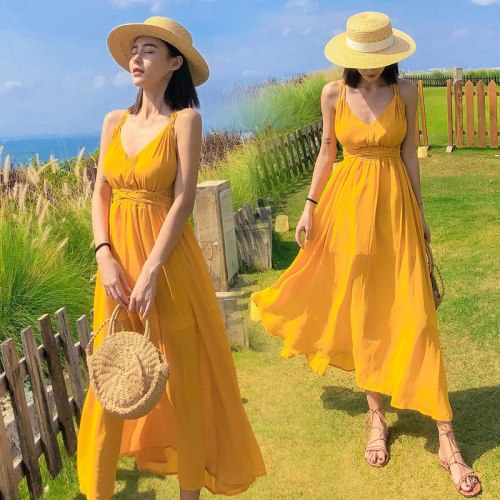 2021 New Yellow Beach Dress Women's Summer Beach Vacation Sling Back Sexy Dress  Bathing Suit Cover Ups