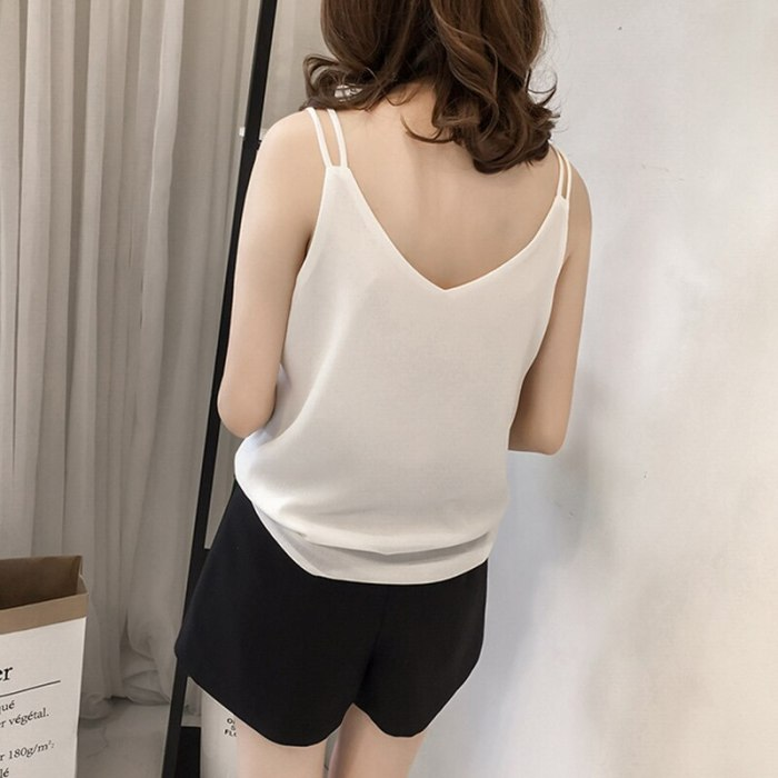 Solid V-neck Tanks Women Korean Style Fashion Summer Sleeveless Cute Simple Leisure Camis Large Size 4XL Backless Basic Crop Top