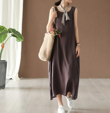 Women 12 Color Cotton Sleeveless Dresses 2021 Summer New O-Neck Solid Color Female Casual Soft Vest Dresses