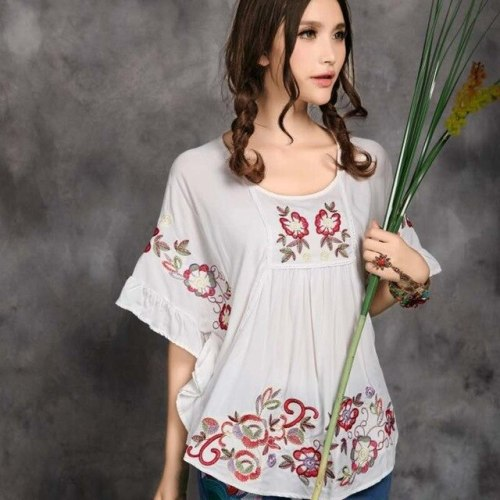 Plus Size Maternity Women Clothing 2021 Maternity Women Loose Ethnic Brand Red Blue White Bat Sleeve Embroidery Blouse