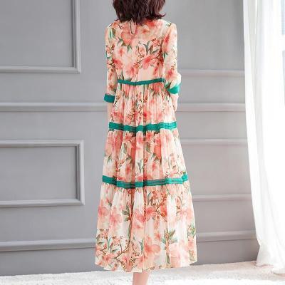 Women Floral Print Chiffon Elegant ADress O-Neck Half Sleeve Bohimian Long Dress Two-pcs  2021 Spring Summer Women New Fashion