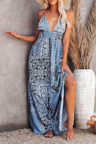 Boho Floral Print Dresses For Women Casual Tropical V-neck Backless Maxi Dress Sexy Sleeveless Beach Sundress Vestidos