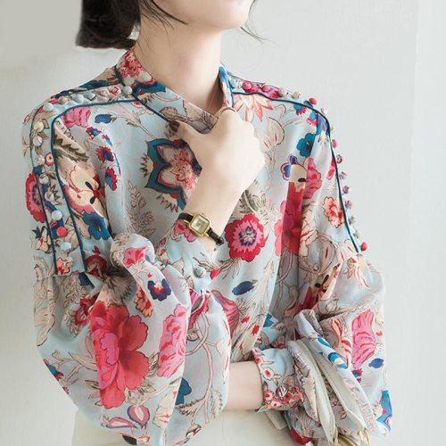 Floral Print Chiffon Blouse Long Sleeve Women Lantern Sleeve Office Lady Casual Tops 2020 Summer New Fashion Female Loose Shirts