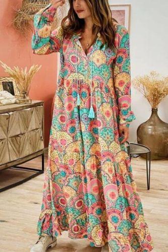 Women Maxi Dress 2021 Bohemian Fashion Elegant Ladies Loose Sexy V-neck Long Sleeve Pretty Stylish Printed Female Large Dress