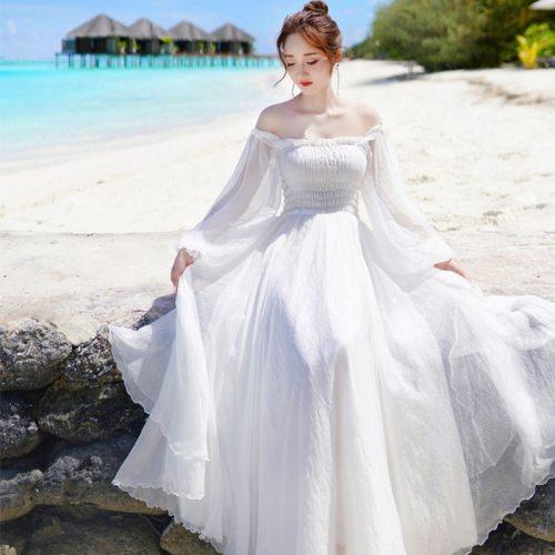 2021 Summer Chiffon Dress Women Elegant Long Sleeve Vintage Slash Neck  A-Line White Beach Party Dresses Vestidos