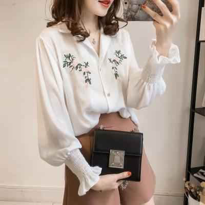 Women Chiffon Embroidered Blouses Feminine Long Sleeve Shirt Loose Lantern Sleeve Cotton Lining Tops British Style Plus Size 4XL