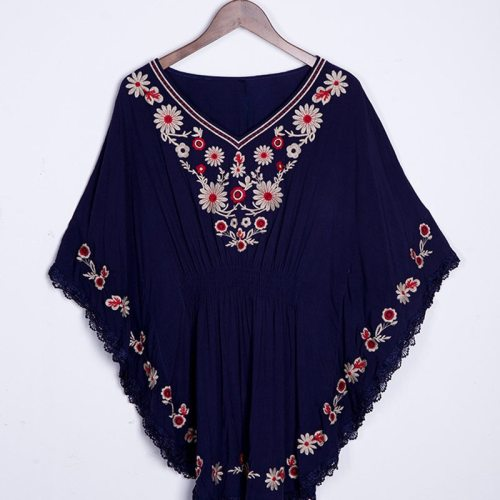 New Summer Vintage Female Ethnic Mexican Floral Loose Shirt Tops Boho Cotton Batwing Sleeve Woman Embroidery Blouse