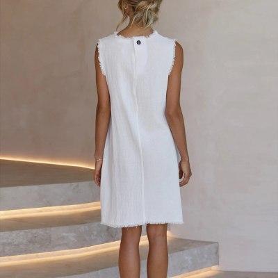 Women's Summer Fashion Casual Round Neck Solid Sleeveless Loose Dress платье летнее 2021 vestido de mujer