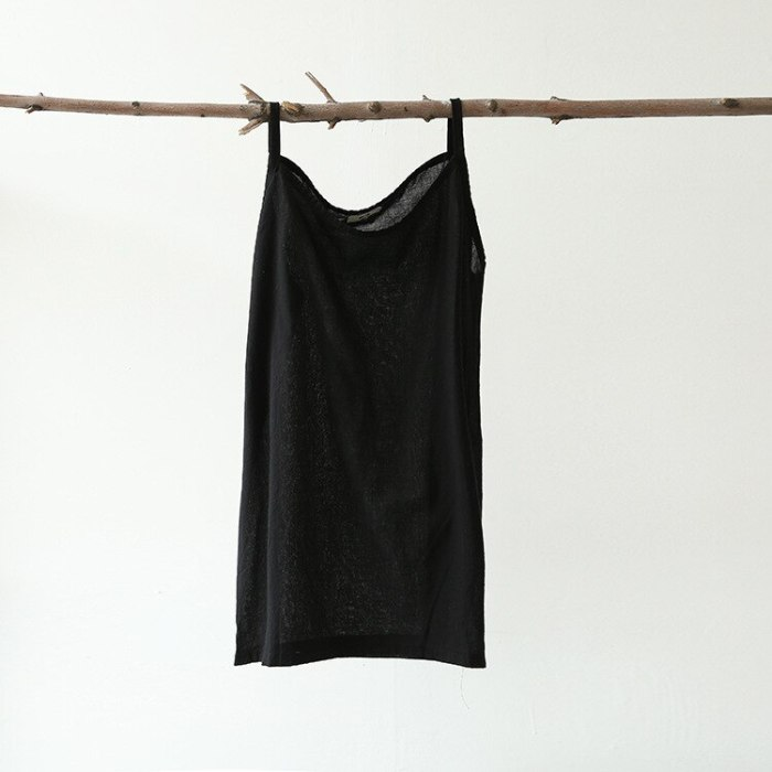 2021 Women Loose Spaghetti Strap Tanks Camis spring and summer Solid color cotton Linen literary Female Vest Simple Clean