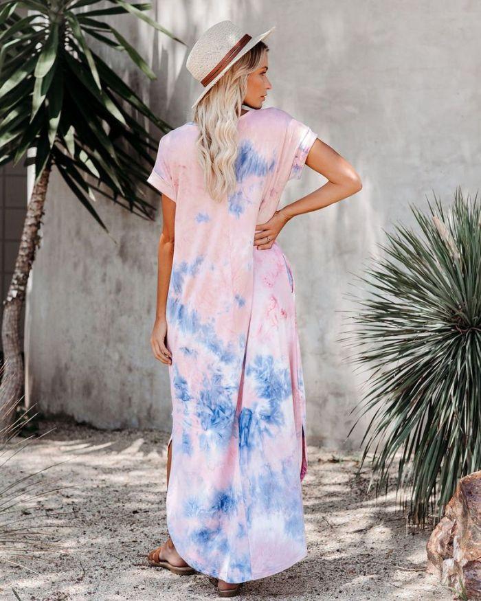 Dress short Sleeve Elegant Empire long printed flower dresses woman summer V-neck sexy pockets cloth Women Basic Vestidos FC0157
