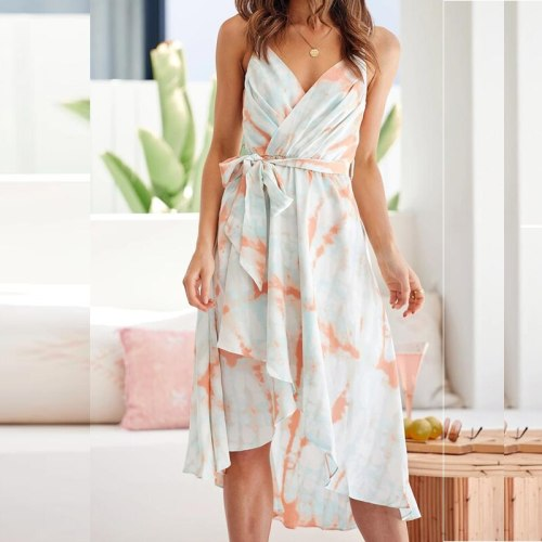 Summer party dress 2021 New gradient color printing waist strap sling mid-length dress Fairy Sexy V Neck Beach  A Line dress