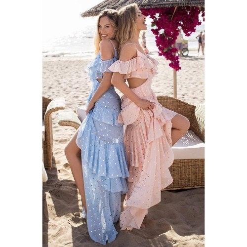 2021 New Arrival Famous Brand Dress Solid Sequins Ruffles Spaghetti Strap Summer Beach Maxi Dress Vestidos