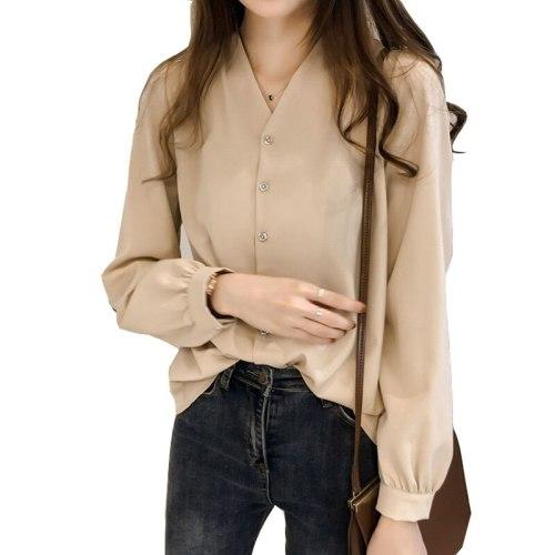 4XL Plus Size New Spring Autumn Tops Elegante Pure Color Chiffon Shirt Women Blouse Office Ladies Loose Cardigan Blouses Blusas
