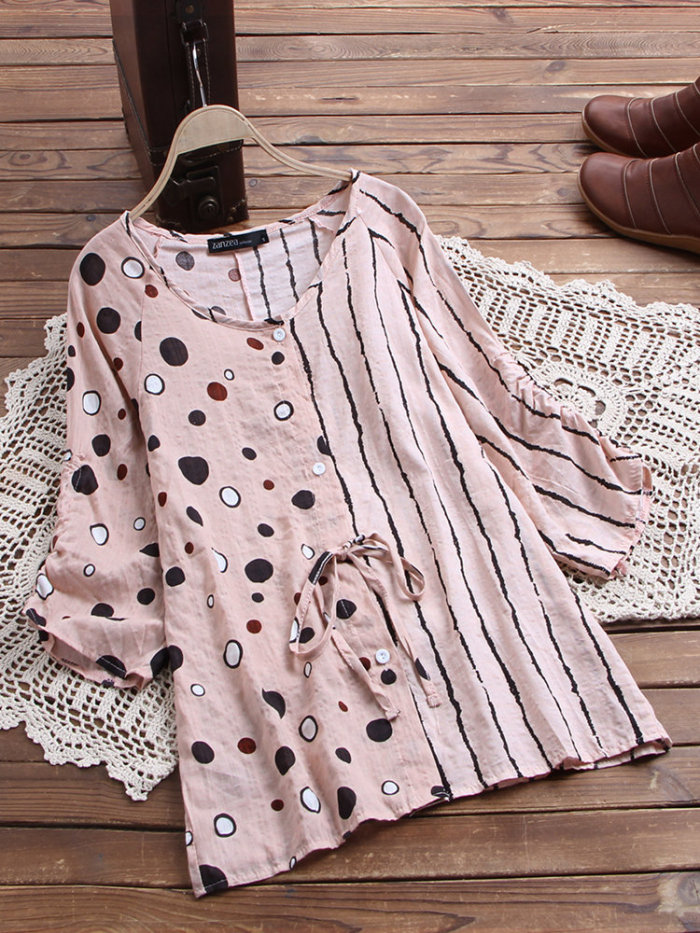 2021 Women Polka Dot Blouse Summer 3/4 Sleeve Striped Patchwork Shirt Casual Femme Robe Tops Tunic Vintage Blusas Chemise
