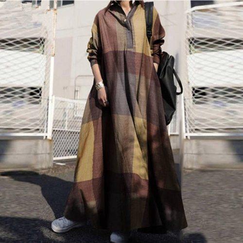 Fashion Islamic ethnic style printed cotton plus size dress Muslim retro women's long skirt Abayeh Ramadan noble casual dress