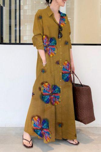 Summer Stylish Women Vintage Long Sleeve Loose Sundress 2021 Casual Long Maxi Dress Kaftan Femme Solid Party Vestido Robe