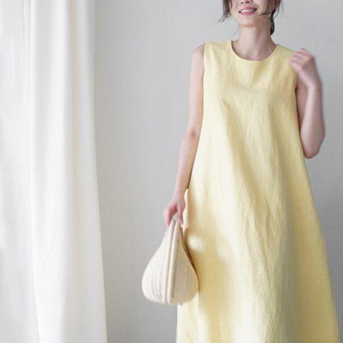 Women Summer New Korean Cotton And Linen Sleeveless Vest Loose Slim Linen Literary Knee Dress Female