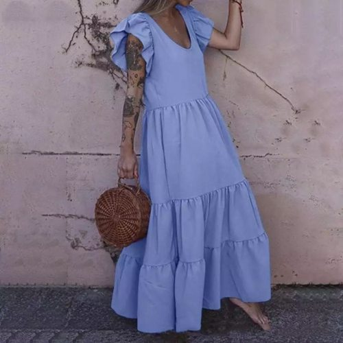 Summer Ruffle Short Sleeve Solid Long Maxi Dress Elegant Party Club Dresses Casual Loose Large Size 5XL Pleated Vestido De Mujer