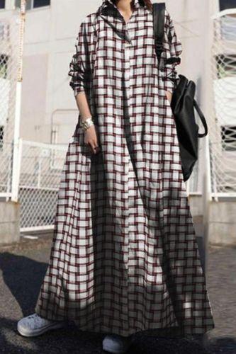 2021 Autumn Plaid Women Vintage Long Sleeve Loose Dress Plus Size Maxi Long Sundress Kaftan Female Plaid Party Vestidos Robe