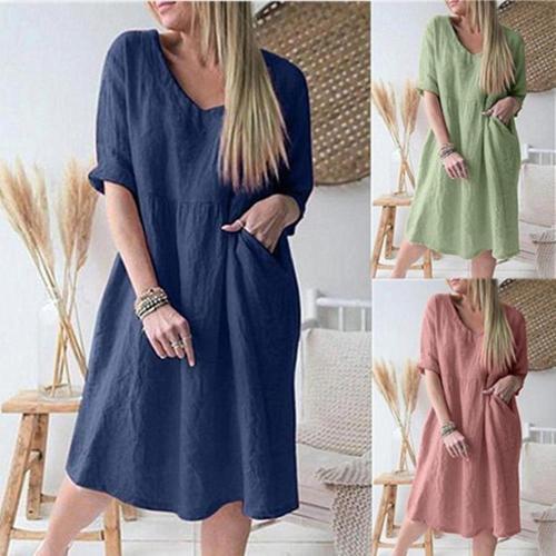Women  Casual Dress Pure Color Three-Quarter Sleeve V-Neck Knee-Length Dress Women Fashion Causal Frenulum Solid Button Loose