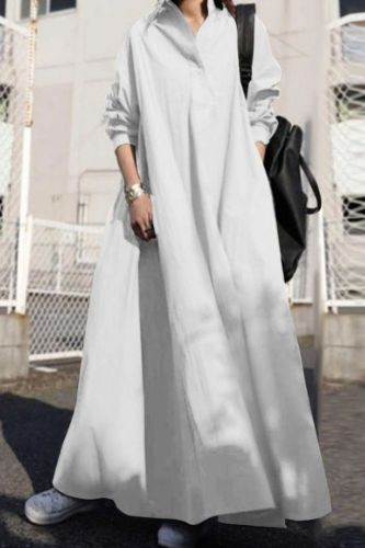 Dresses for Women 2021 Cotton and Linen Pure Color Stand Collar Long-sleeved Simple Vintage Loose Casual Long Shirt Dress
