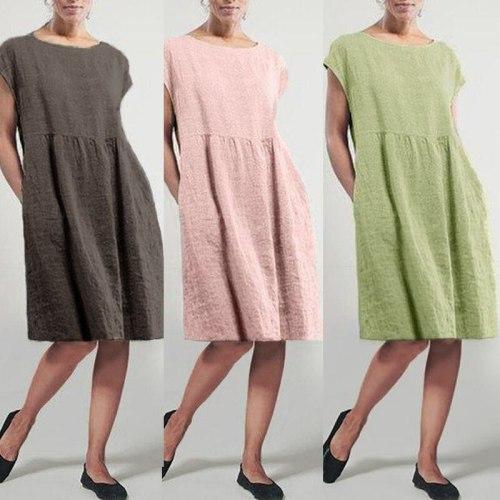 2021 Women's Summer Sundress Casual Solid Dress Elegant Short Sleeve Vestidos Female Pleated Plus Size Robe Woman Dresses