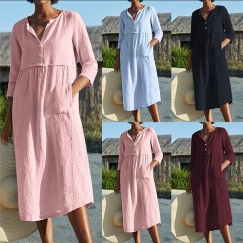 Explosion style loose dress summer regular sleeves single-breasted cotton and linen summer casual women's clothing 2021 hot sale
