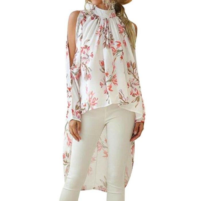 Irregular Hem Long Tops Women T Shirt Floral Print Ladies Top Cold Shoulder Long Sleeve Blouse Shirt Summer Women Tops 2021