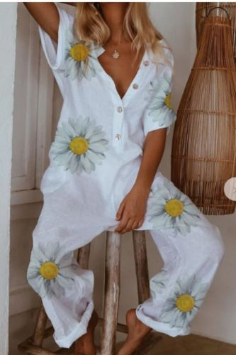 Daisy Print V Neck Women Jumpsuit Short Sleeve Button Cotton Linen Female Romper Jumpsuit 2020 New Spring Summer Ladies Overalls