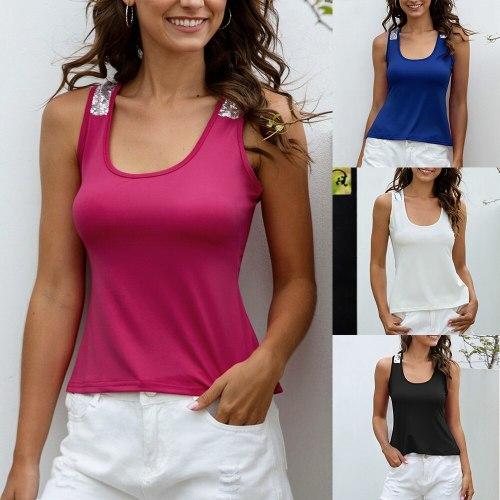 Women Sleeveless Sequin Vest Tops Casual Blouse T Shirt