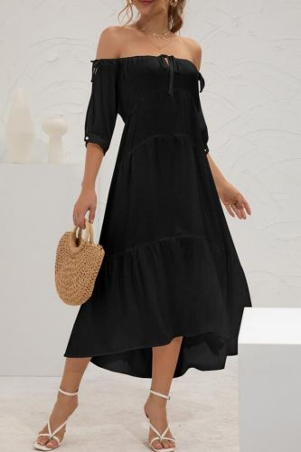 Sexy Slash Neck Lace Up Women Short Sleeve Midi Dresses Summer Solid Backless Off Shoulder Casual Loose Dress For Woman Femme