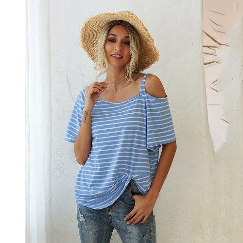 Women's Summer T-shirt Sexy Strapless Strap Fashion Striped Loose Oblique Neck Twist Short Sleeve T-shirt 2021 T Shirt Femme