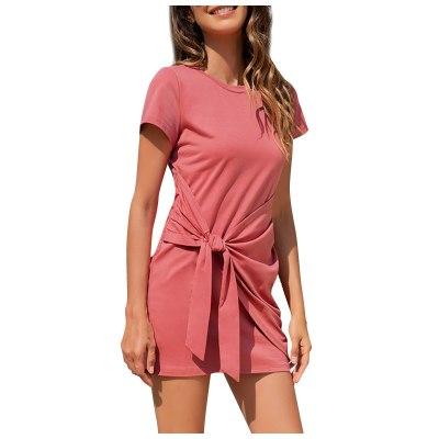 Womens Fashion Solid Dress Pumping Short Sleeve Pleated Shoulder Casual Mini Tank Dresses Vestido De Mujer Платья Для Женщин