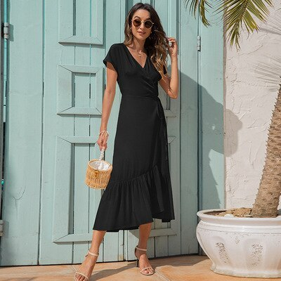 Europe and the United States women's summer new v-neck irregular bind contracted cultivate one's morality dress