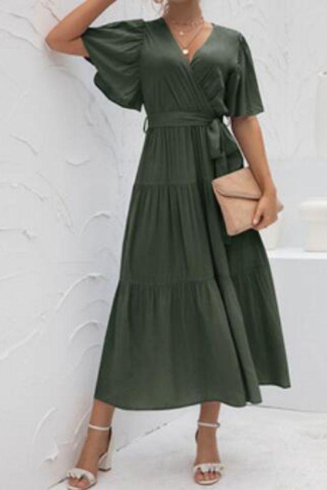 Patchwork V-Neck Long Dresses Vintage Sexy Elegant Party Women Fashion Summer 2021 Dress Casual Streetwear Dress Female