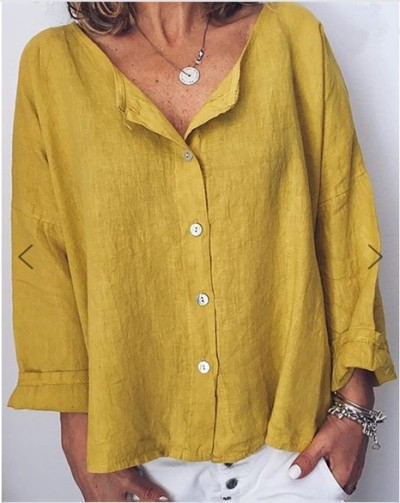 Women Tops and Blouse Summer Spring Long Sleeve V-Neck Casual Lady Tops Blusas Solid Color Loose Style Blouse Shirts Plus Size